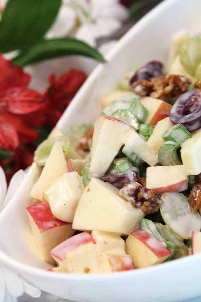 Fruity Waldorf Salad closeup tall | 2 Cookin Mamas