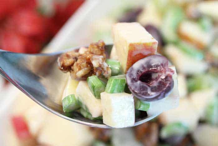 Fruity Waldorf Salad spoonful | 2 Cookin Mamas