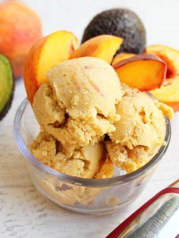 Healthy Peach Ice Cream square   2 Cookin Mamas