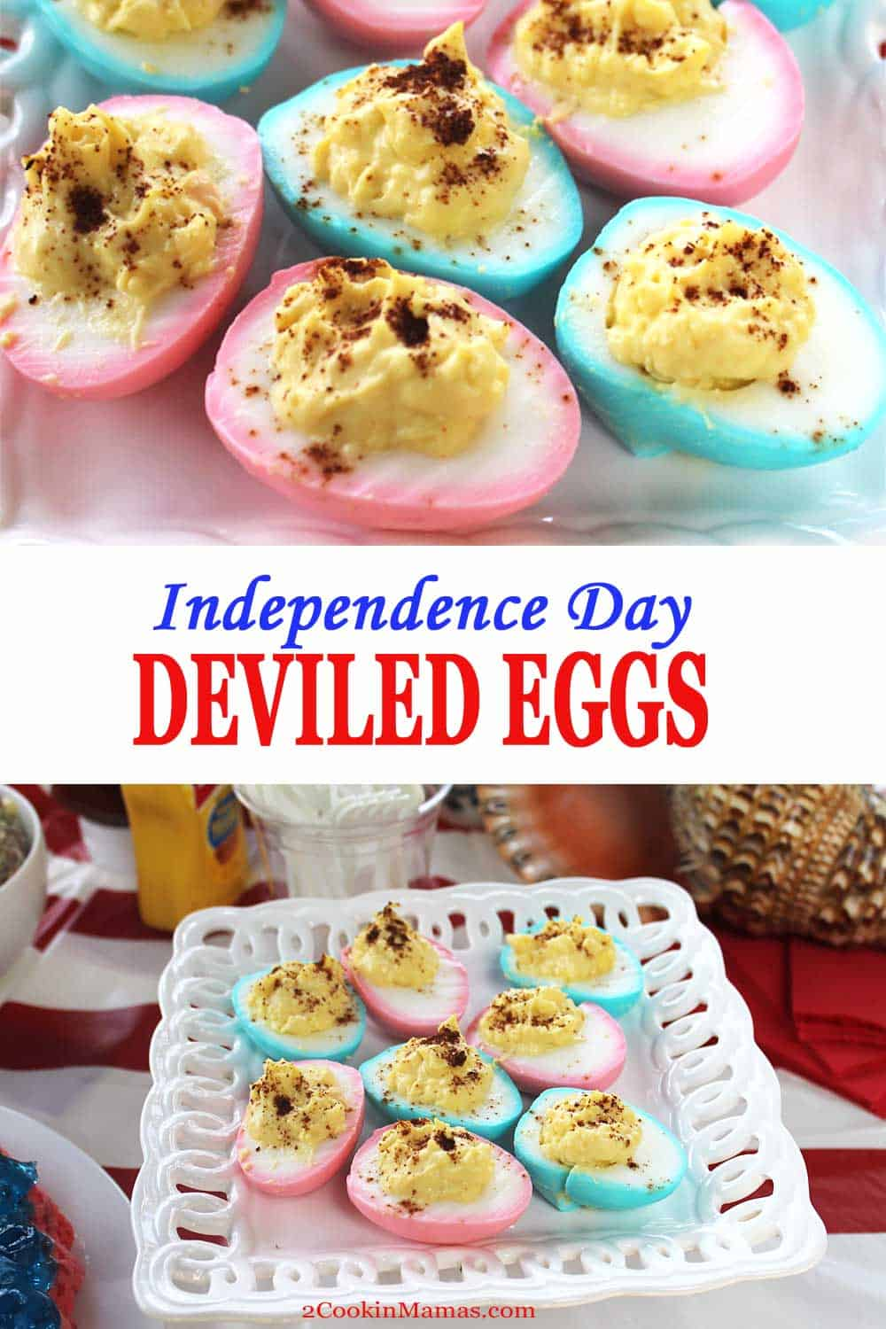 Independence Deviled Eggs | 2 Cookin Mamas The perfect 4th of July picnic side dish - Independence Day Deviled Eggs. Hard boiled eggs are colored red and blue then filled with a tangy egg mixture. #deviledeggs #july4th #sidedish #recipe #easy #coloredeggs #picnic