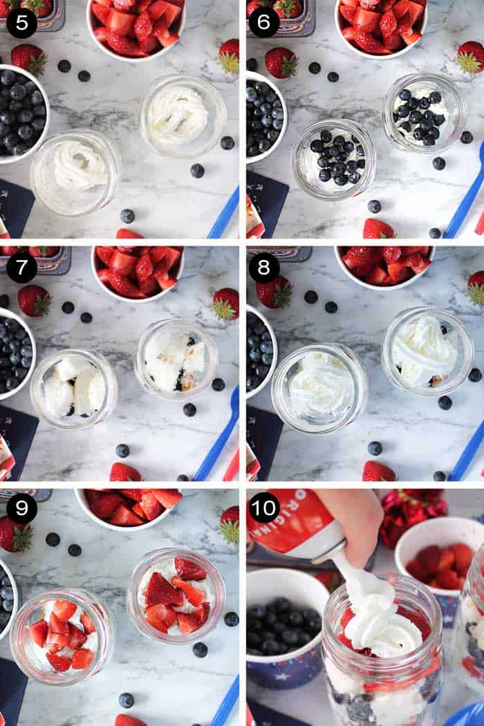 Layering steps for whipped cream, blueberries, cake, strawberries and topping.