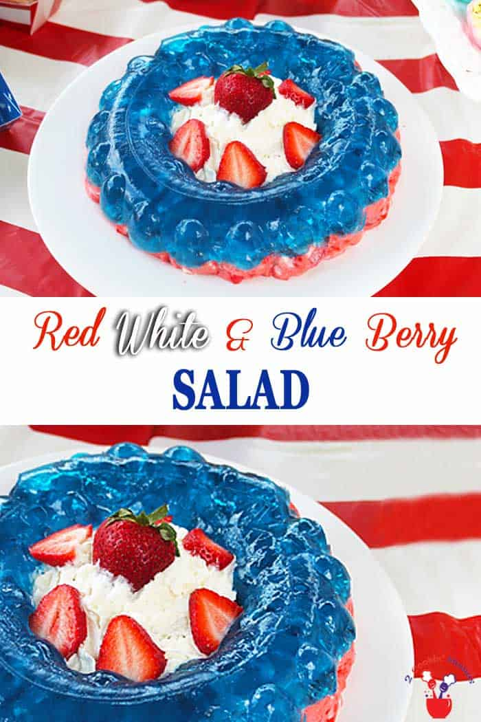 Red White and Blue Berry Salad | 2 Cookin Mamas A fresh, colorful Red, White and Blue Berry Salad that's perfect for any picnic or patriotic event. Strawberries, marshmallows and cream cheese make a rich bottom layer, topped with blueberry jello and a center filled with luscious whipped cream. #salad #strawberries #redwhiteandblue #blueberry