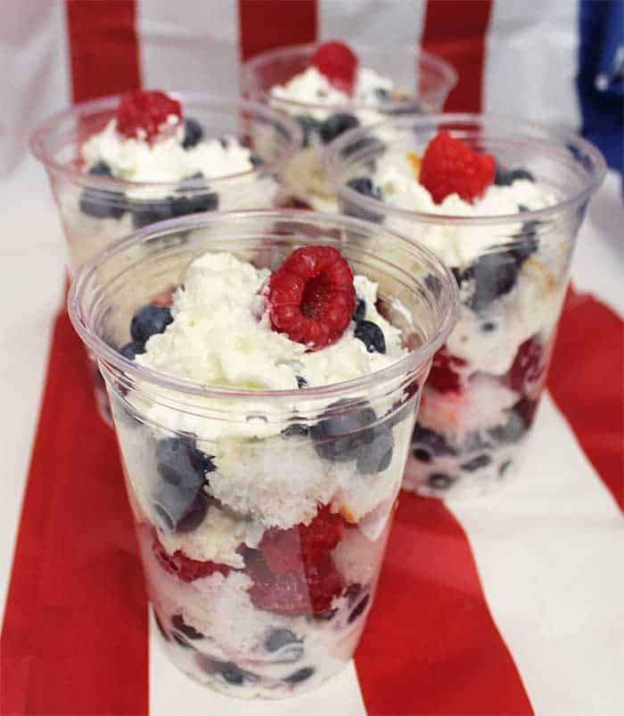 parfaits in plastic cups on flag background