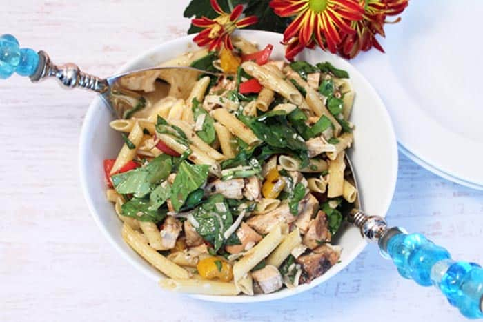 Balsamic Chicken Pasta Salad closeup | 2 Cookin Mamas
