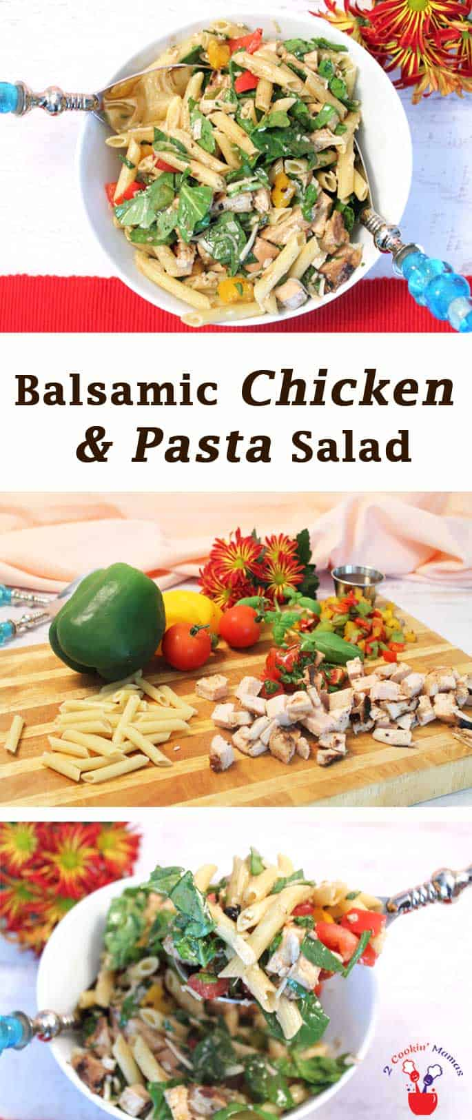 Balsamic Chicken & Pasta Salad | 2 Cookin Mamas Want a delicious & healthy salad for your next picnic? This balsamic chicken & pasta salad is easy to carry with you & stretches to accommodate a crowd.