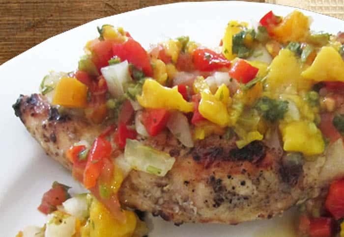 Chicken with Mango Salsa closeup | 2 Cookin Mamas