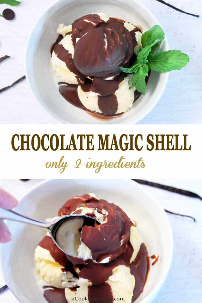 Chocolate Magic Shell | 2 Cookin Mamas This easy to make 2-ingredient magic chocolate shell is the most delicious way to take ice cream to the next level. It combines chocolate and coconut oil that magically hardens when it meets cold ice cream. A treat the kids (and big kids too) are sure to love! #icecreamtopper #chocolate #icecream #easyrecipe #coconutoil #dessert