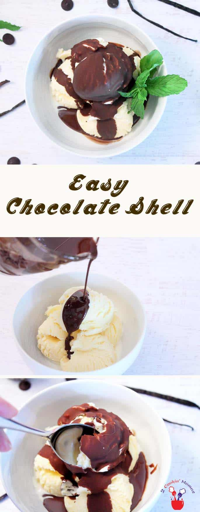 Easy Magic Chocolate Shell Ice Cream Topping | 2 Cookin Mamas Just 2 ingredients & 3 minutes and you can have that magic hard chocolate shell for your favorite ice cream. It's homemade so you know what's in it & it keeps for 2 months. #recipe #dessert