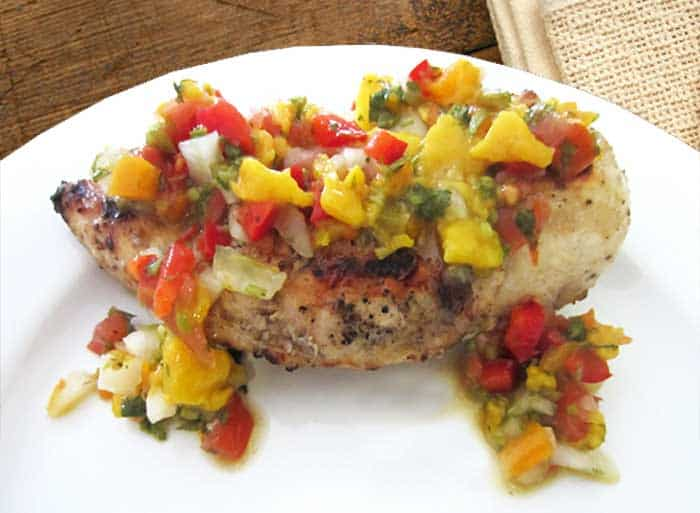Grilled Chicken with Mango Salsa plated | 2 Cookin Mamas