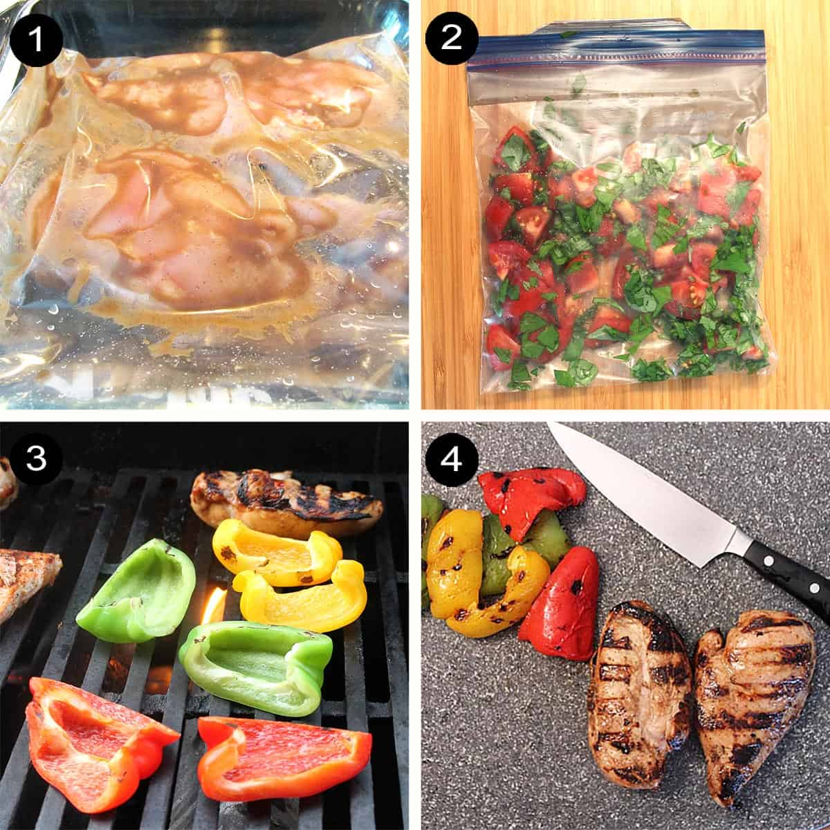 Preparing ingredients for salad steps 1-4.
