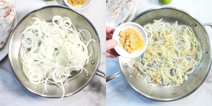 Preparing onions by cooking in skillet.