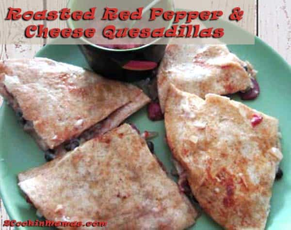 Roasted Red Pepper Quesadillas | 2CookinMamas