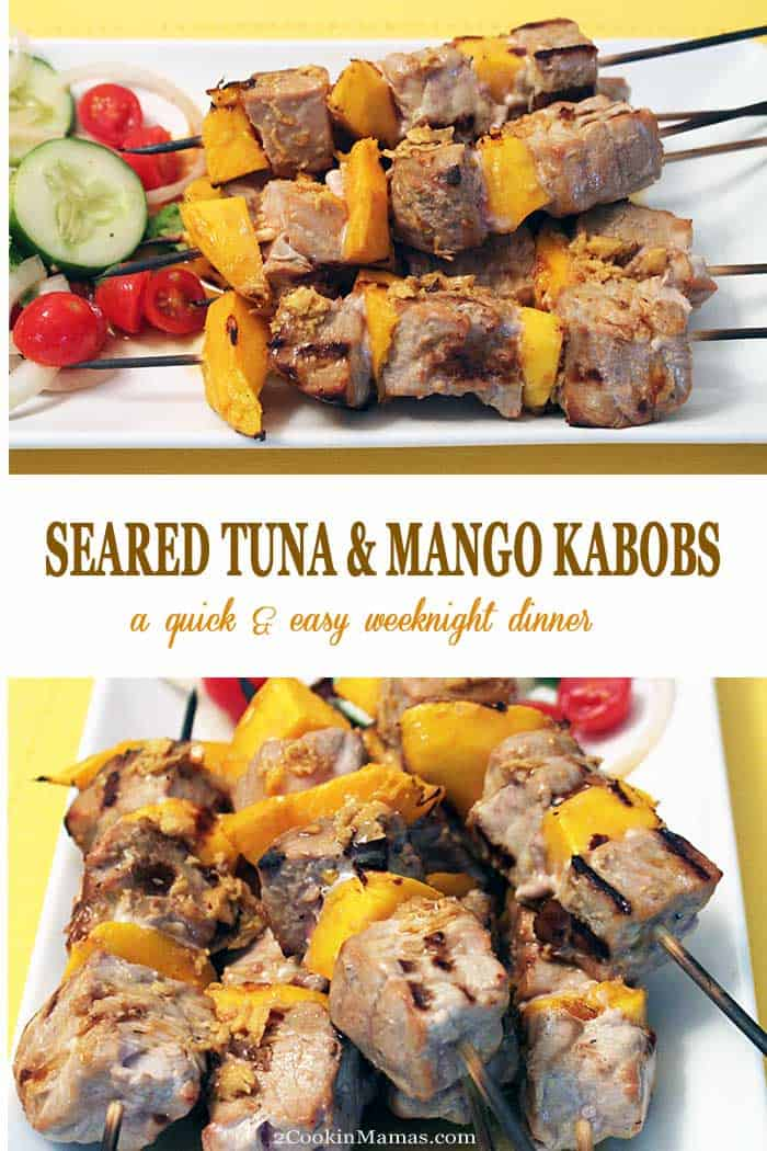 It\'s summertime! Get your grill on with these quick & easy seared tuna and mango kabobs. Chunks of juicy, tender ahi tuna are skewered with fresh sweet mango chunks for a health, delicious weeknight dinner. #grilling #tuna #kabobs #dinner #recipe #mango