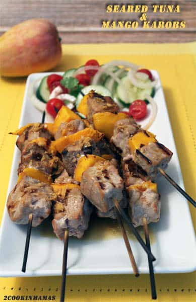 Seared Tuna and Mango Kabobs | 2CookinMamas