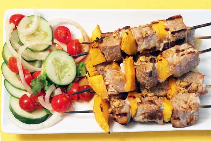 Seared Tuna and Mango Kabobs overhead