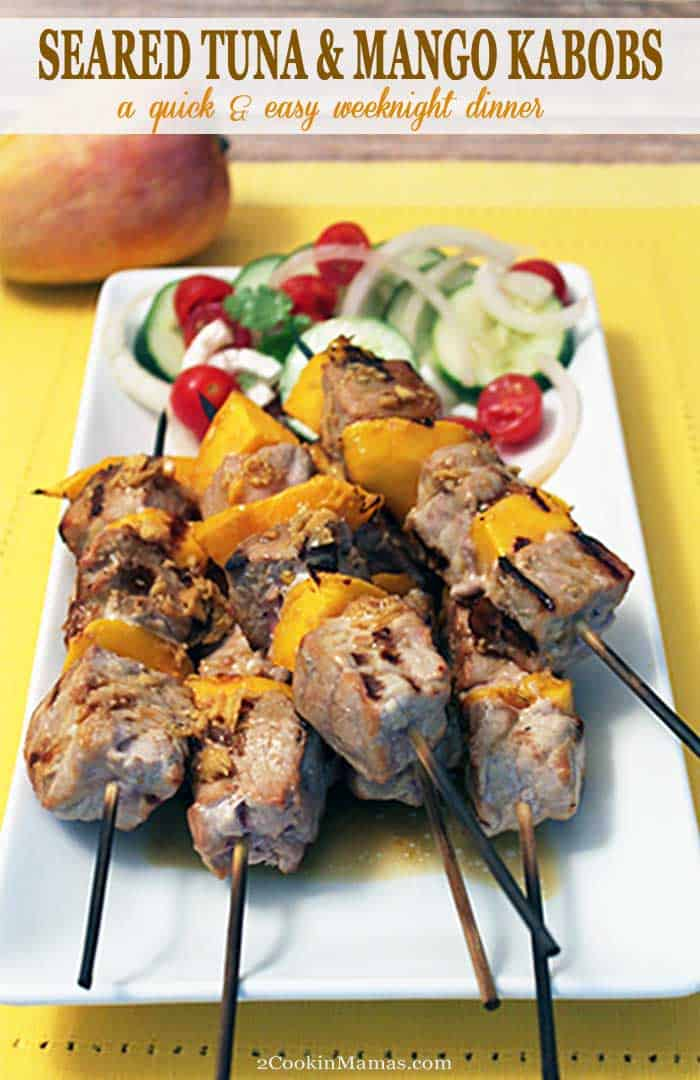 Seared Tuna and Mango Kabobs | 2 Cookin Mamas It's summertime! Get your grill on with these quick & easy seared tuna and mango kabobs. Chunks of juicy, tender ahi tuna are skewered with fresh sweet mango chunks for a health, delicious weeknight dinner. #grilling #tuna #kabobs #dinner #recipe #mango