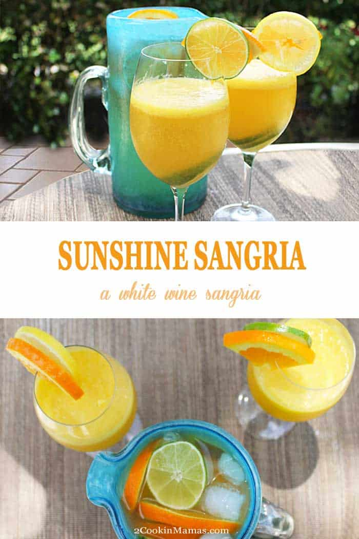 Sunshine Sangria | 2 Cookin Mamas Our delicious sunshine sangria is the perfect sipper on a warm summer day. Full of freshly juiced oranges, lemons, limes and mango, a little white wine & the effervescence of sparkling coconut water, it's like a tropical getaway in a glass. #sangria #whitewine #cocktail #summer #oranges #lemons #limes #sparklingcoconutwater #recipe #juicing