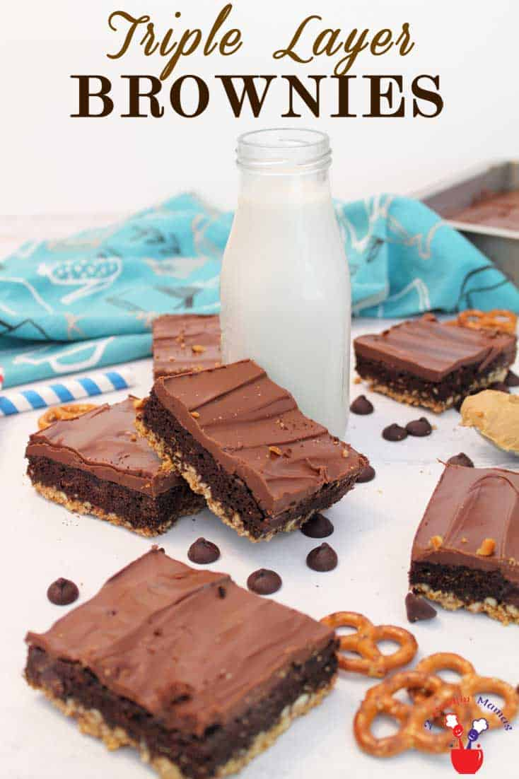 Triple-Layer-Brownies 4 | 2 Cookin Mamas Get that sweet and salty taste in our easy triple layer brownies recipe! Start with a boxed mix, some pretzels, peanut butter & chocolate. So easy & so delicious!
