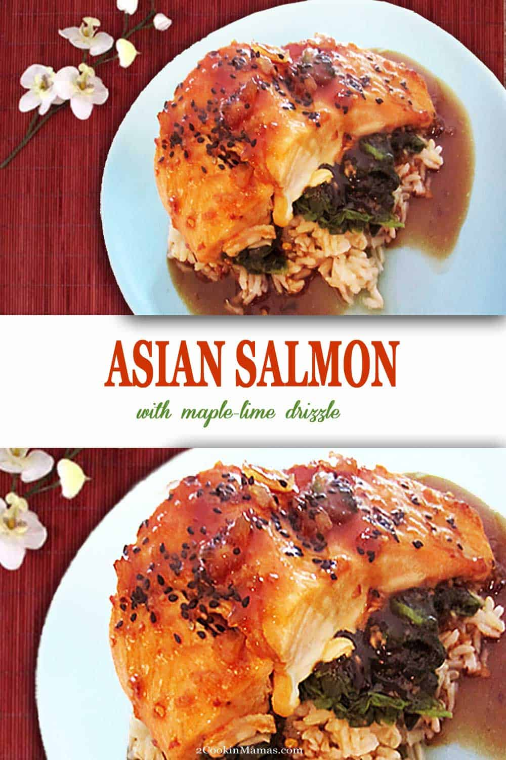 Impress with this easy baked salmon dish with an Asian flair. Served over spinach and rice, it\'s got everything you need for a healthy family dinner. #dinner #salmon #easy #recipe #maple