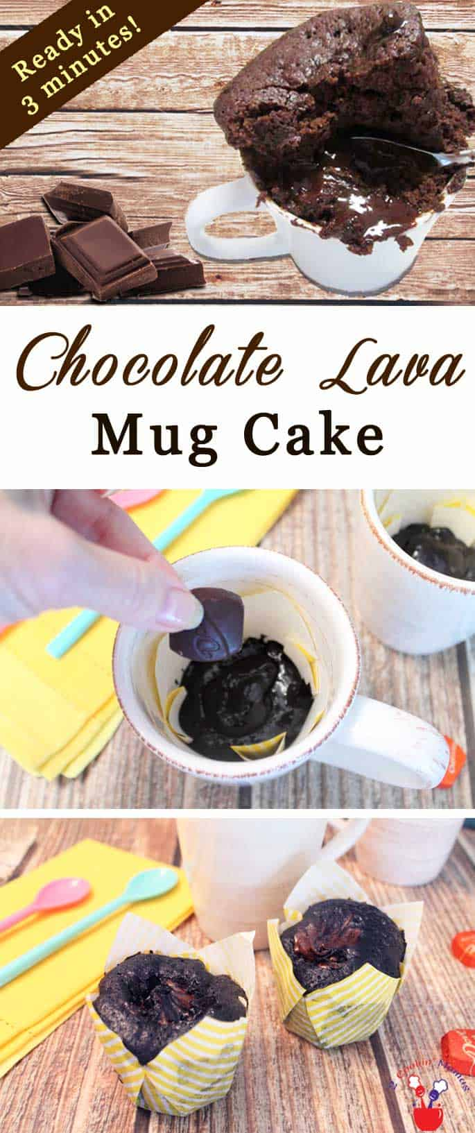 An easy mug cake to make for those that love chocolate! Chocolate cake, a liquid chocolate center, pour in a mug, pop in the microwave, ready in a minute! #lavacake #mugcake #chocolatecake #quickandeasydessert #dessert #recipe