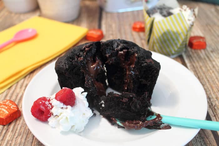 Chocolate Lava Mug Cake ready to eat | 2 Cookin Mamas