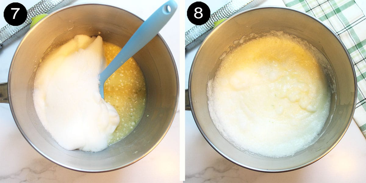 Folding egg whites into batter.