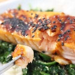Closeup of baked salmon with bite on fork.