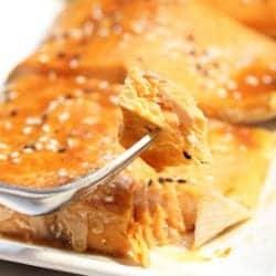 Bite of salmon on fork over platter.