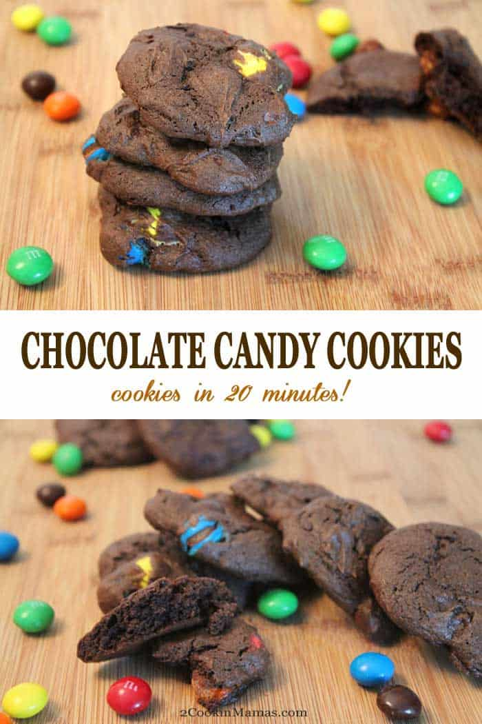 Chocolate Candy Cookies | 2 Cookin Mamas These easy chocolate candy cookies are super chocolaty & packed with M&Ms or your favorite chocolate chips. They start with a boxed cake mix but you'd never know and taste totally homemade! The best part is they go from bowl to mouth In 20 minutes! #cookies #chocolatecookies #chocolate #easyrecipe #recipe #M&Ms #chocolatechips