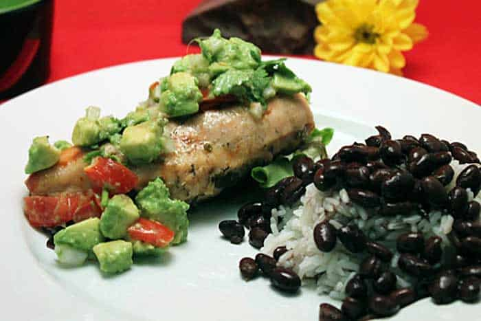 Grilled Chicken with Avocado Salsa plated | 2 Cookin Mamas