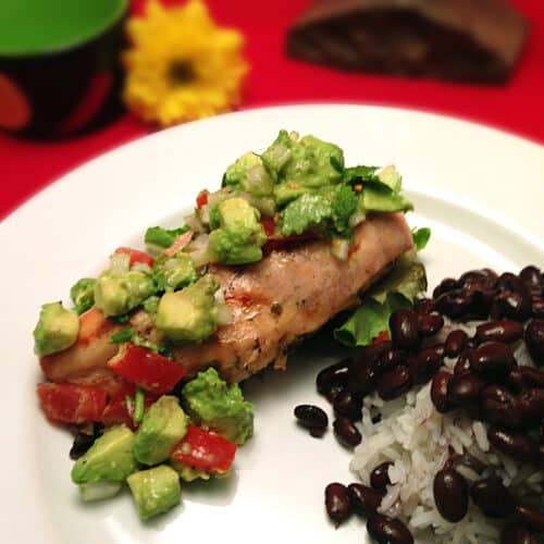 Grilled Chicken with Avocado Salsa square | 2 Cookin Mamas