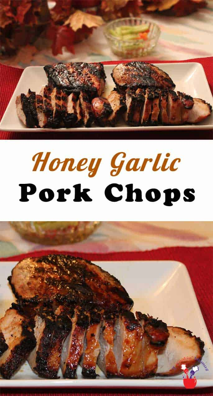 Honey Garlic Pork Chops | 2 Cookin Mamas This moist and tender pork chops recipe is as easy as 1-2-3. Grilled with just the right touch of honey and soy sauce, they're out of this world good!