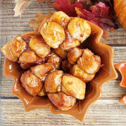 Pumpkin Caramel Monkey Rolls square | 2 Cookin Mamas
