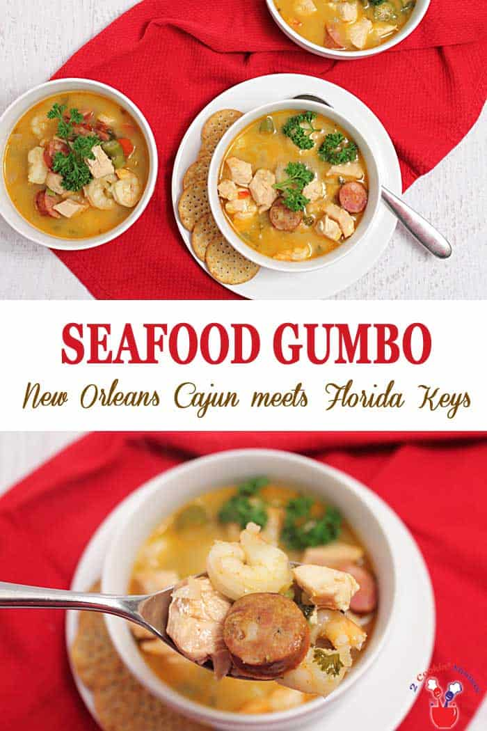 Seafood Gumbo | 2 Cookin Mamas Best gumbo this side of N'awlins! A wonderfully flavorful and easy seafood gumbo that is all about shellfish, andouille, okra, chicken and spice. #seafood #gumbo #soup #stew #recipe #shrimp