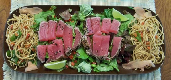 Seared Ahi Tuna w sesame noodles|2CookinMamas