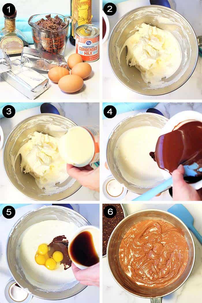 Making chocolate cheesecake batter.