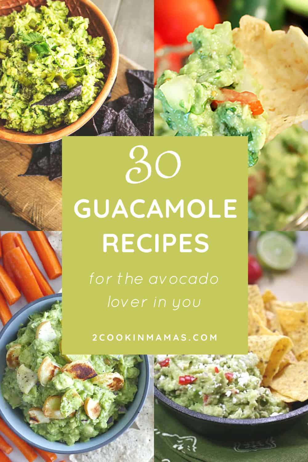 4 guacamole photos with text overlay stating 30 guacamole recipes for the avocado lover in you.