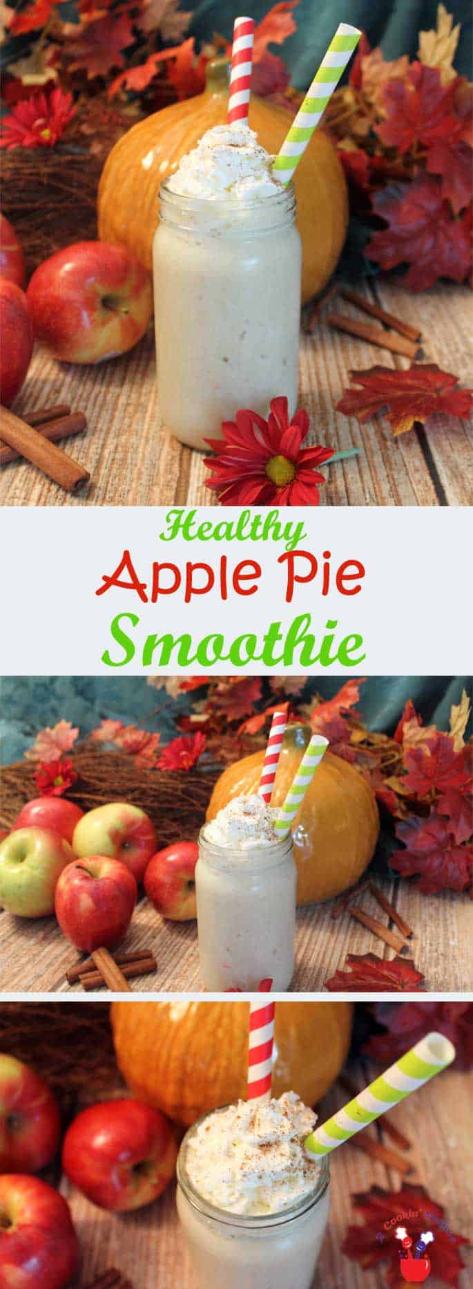 Apple Pie Smoothie | 2 Cookin Mamas This apple pie smoothie is like apple pie in a glass. Now you don't have to feel guilty - go ahead and have this healthy smoothie for breakfast or lunch.