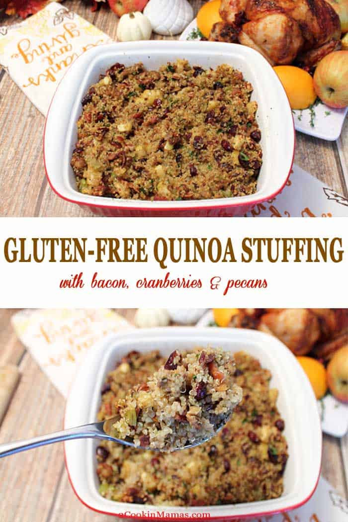 A delicious protein-rich gluten free quinoa stuffing is tossed with apples, pecans, bacon and sausage for a hearty side for your Thanksgiving dinner. #glutenfreestuffing #glutenfree #Thanksgiving #stuffing #recipe #quinoa #cranberries
