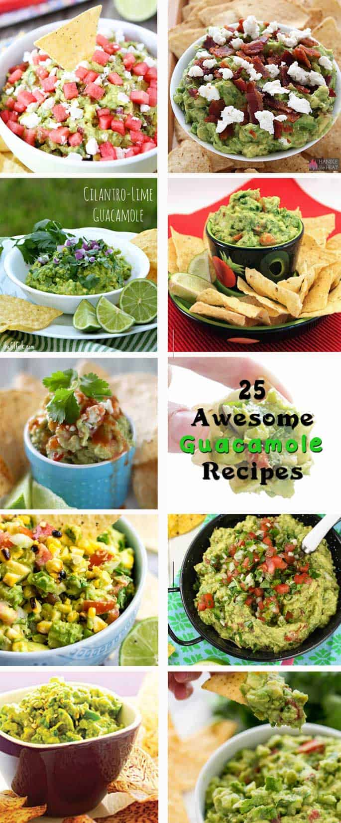 25 Awesome Guacamole Recipes | 2 Cookin Mamas A roundup of the best guacamole recipes from watermelon feta to classic to Sake Soy & everything in-between. #recipes #appetizers