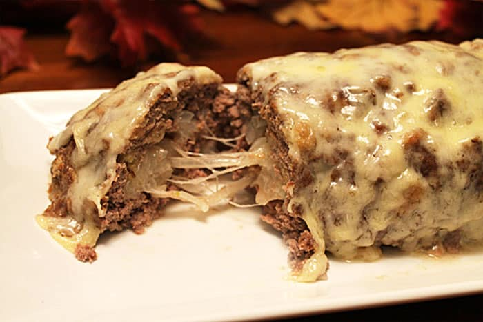 Patty Melt Meatloaf close up | 2 Cookin Mamas