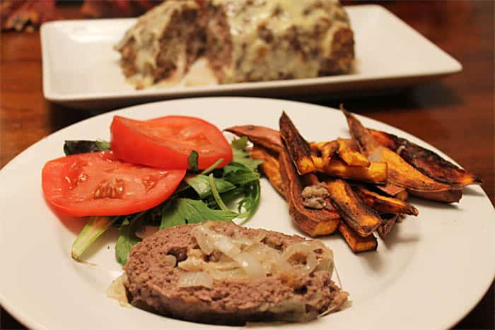 Patty Melt Meatloaf plated | 2 Cookin Mamas