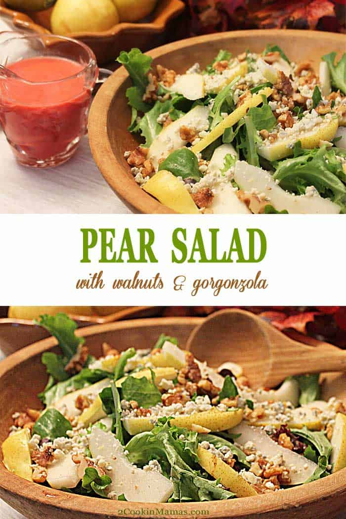 Pear Walnut Gorgonzola Salad | 2 Cookin Mamas This Pear Walnut Gorgonzola Salad is a light and healthy side dish that pairs well with any meal. It has only 4-ingredients and is perfect served with your favorite raspberry vinaigrette. Add cranberries for a festive holiday touch. #salad #healthy #pears #walnuts #gorgonzola #sidedish #recipe
