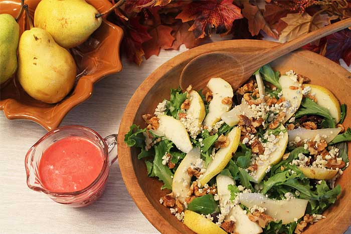 Pear Walnut Gorgonzola Salad overhead