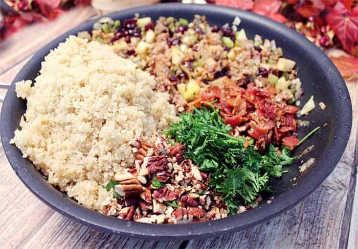 Gluten free Quinoa Stuffing final prep | 2 Cookin Mamas