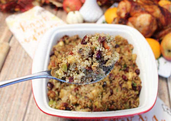 Gluten free Quinoa Stuffing spoonful | 2 Cookin Mamas