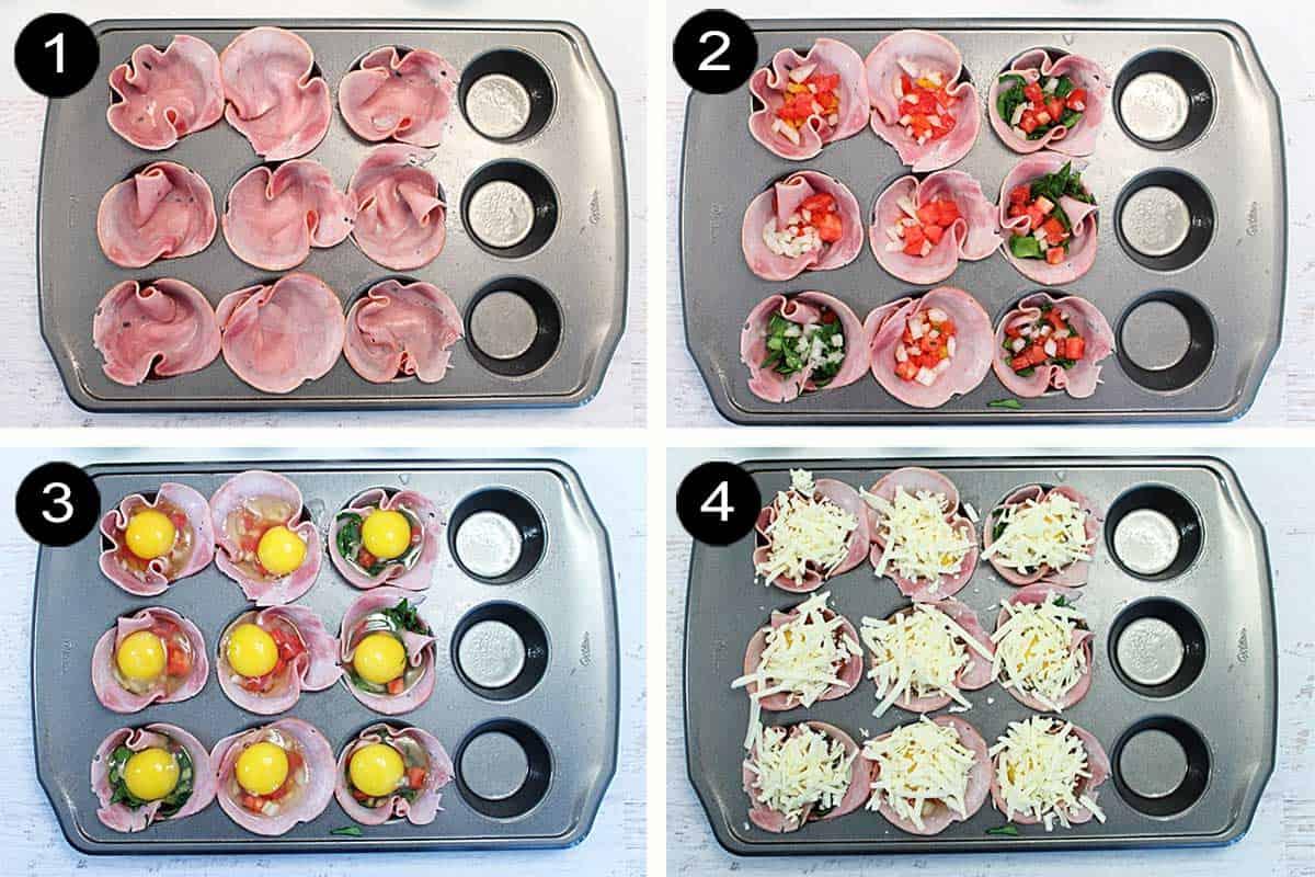 Steps 1-4 to make egg cups.