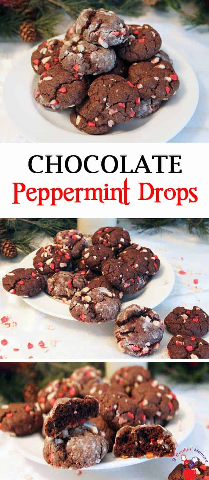 Chocolate Peppermint Drops | 2 Cookin Mamas Easy to make cookies that start with a cake mix. Just add 3 ingredients for rich chocolaty, minty cookies. Perfect for the season! #recipe