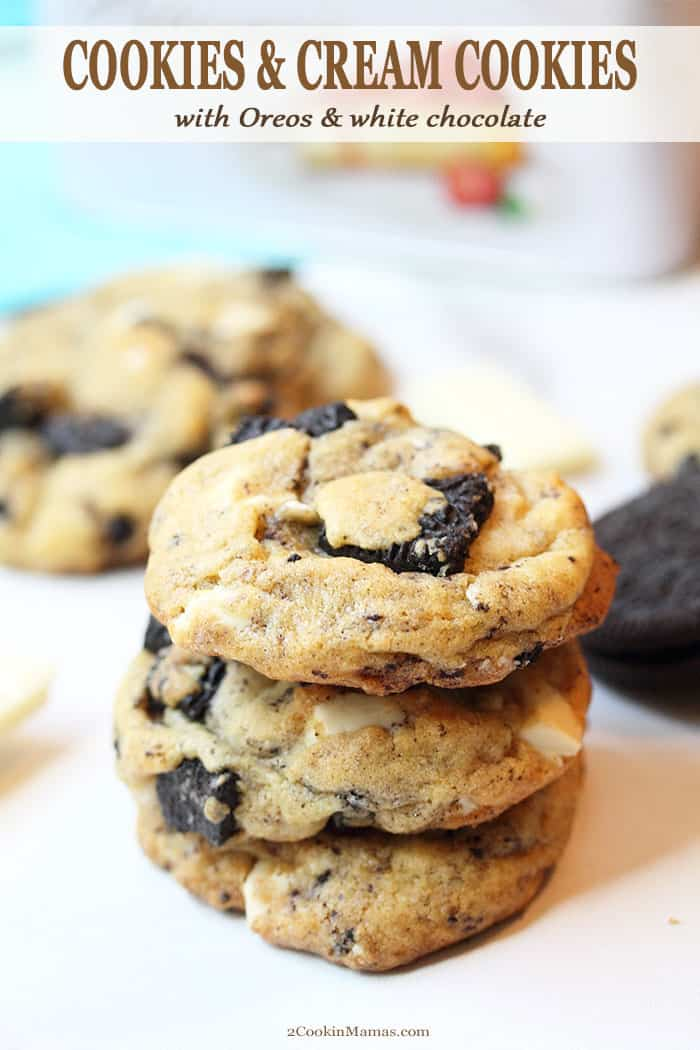 Everyone loves these soft and chewy Cookies and Cream Cookies! It\'s like the chocolate chip cookie got a present too - oodles of Oreo cookies and chucks of white chocolate in a soft and chewy cookie. Believe me, they\'re so incredibly delicious you might want to just gobble them up in one sitting! #cookies #oreos #whitechocolate #baking #pudding #snack