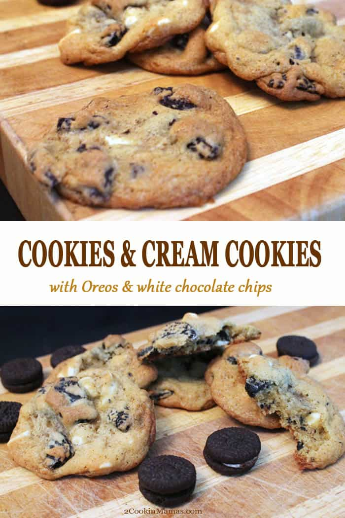 Everyone loves these delicious Cookies and Cream Cookies! I mean, how can you help it! Soft cookies stuffed with white chocolate chips & Oreo cookies - see what I mean?! #cookies #oreos #whitechocolatechips #christmas #baking #pudding